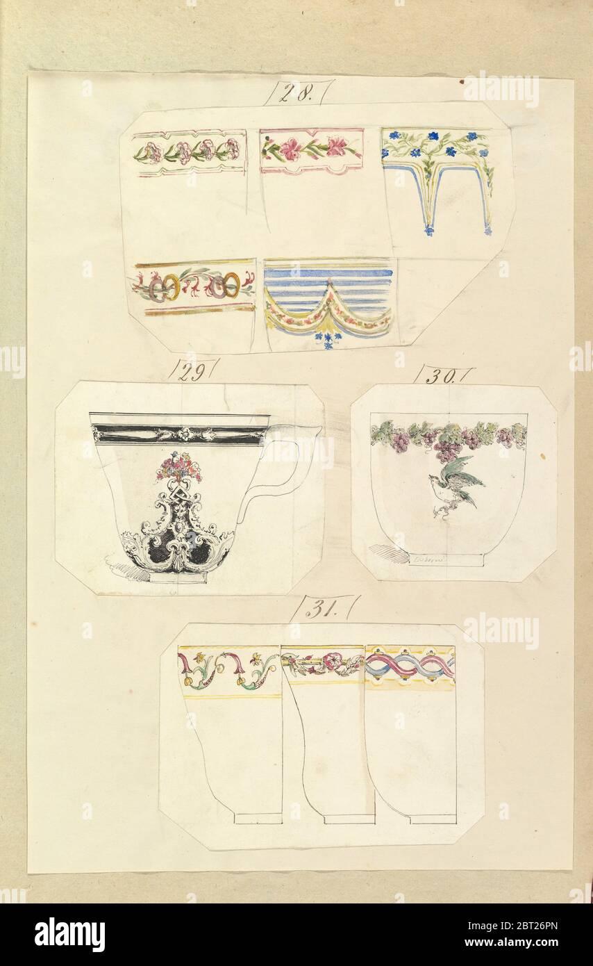Dix dessins pour les tasses décorées, y compris Osborne Pattern, 1845-55. Banque D'Images