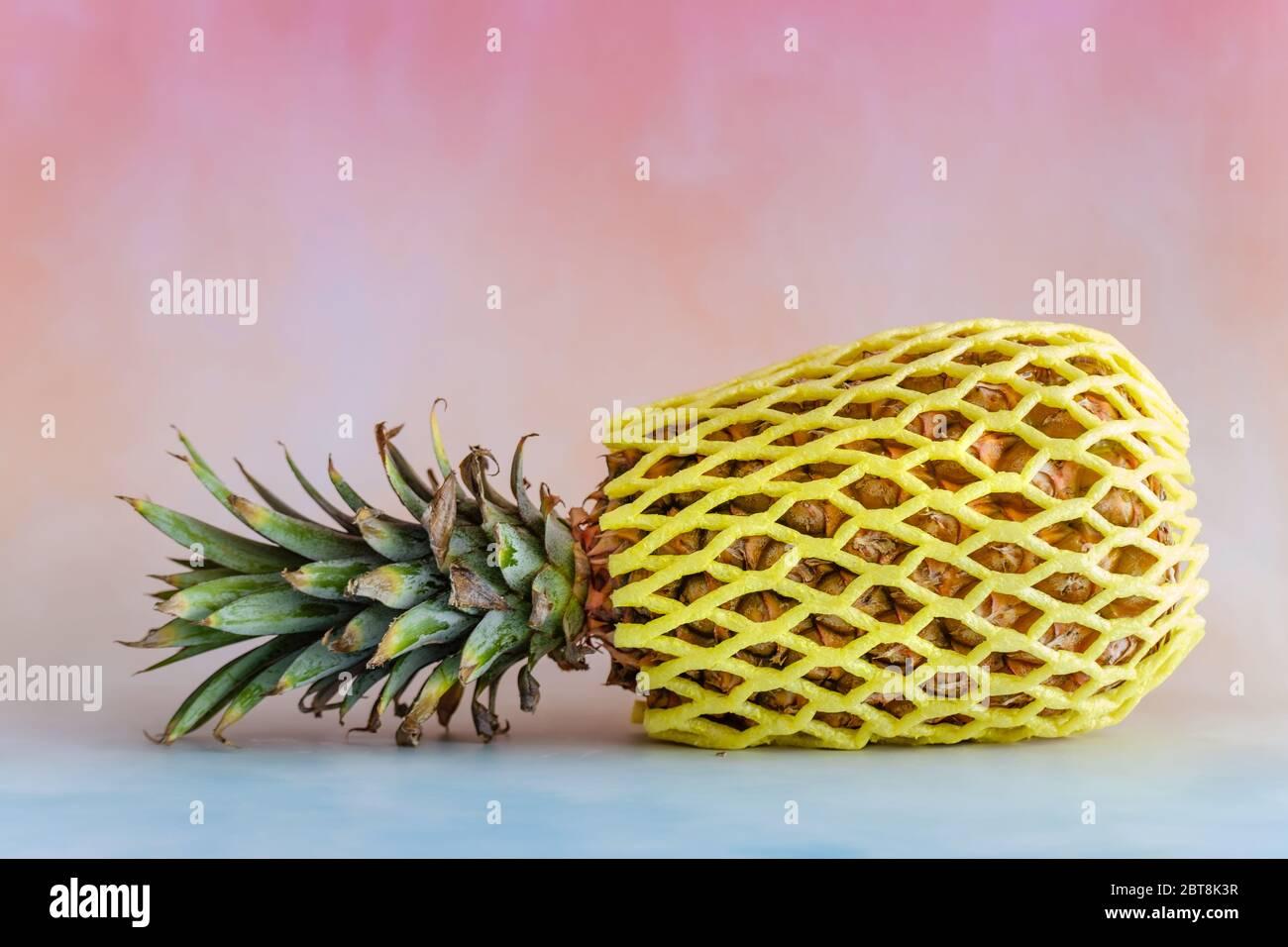 Ananas sur un fond lumineux avec espace de copie Banque D'Images