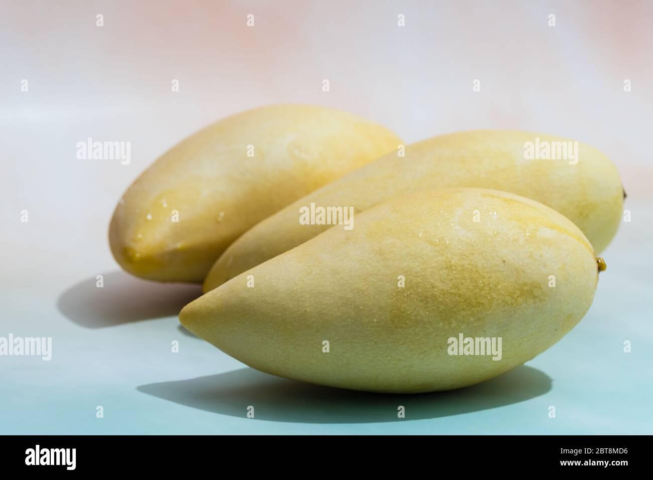 Fruits frais à la mangue sur fond bleu clair avec espace de copie Banque D'Images
