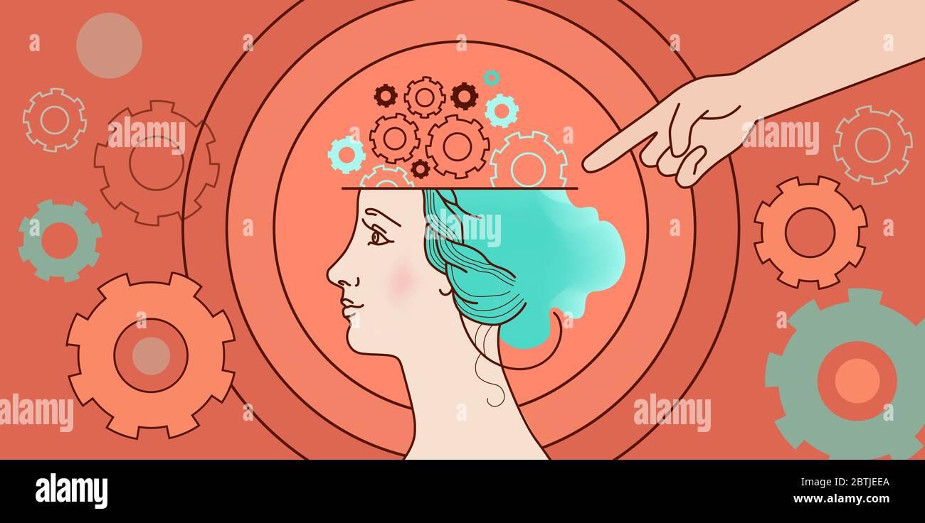 Concept psychologique de la pensée humaine, mécanique du cerveau, complexes féminins, problèmes. Illustration face dans le profil, la tête, les engrenages, les ressorts sur une bande orange Illustration de Vecteur