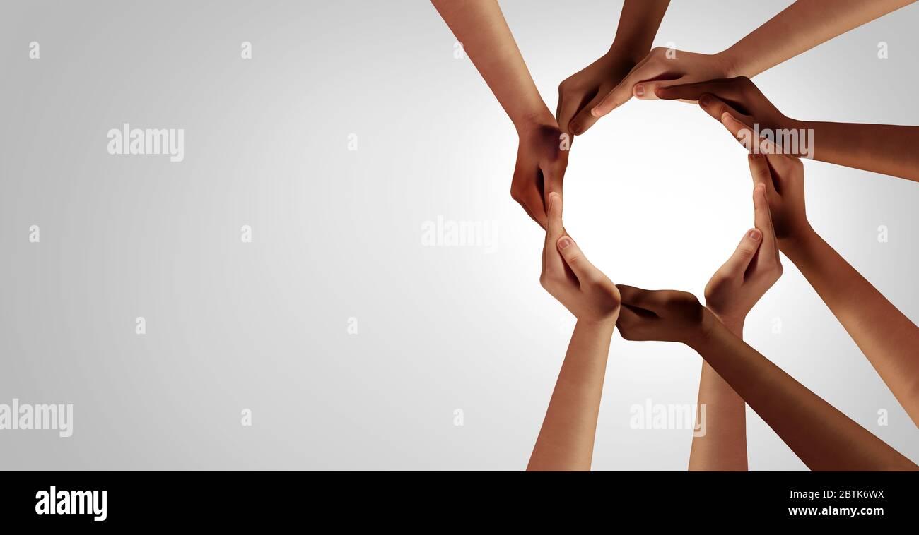 Le partenariat entre l'unité d'affaires et la diversité, en tant que mains dans un groupe de personnes diverses reliées ensemble, a été formé comme un symbole de cercle de soutien de l'équipe de groupe. Banque D'Images