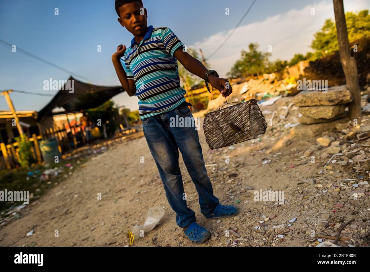 Un garçon colombien porte une petite cage à oiseaux, avec un canari sauvage à l'intérieur, dans le quartier Olaya Herrera à Cartagena, en Colombie. Banque D'Images