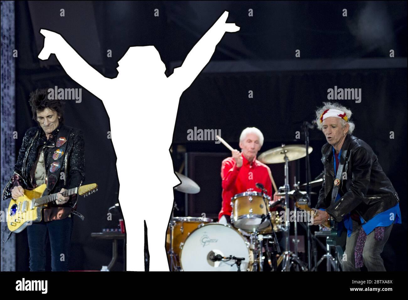 QUIZ PHOTO : voici un jeu pour vous lancer dans la semaine. Pouvez-vous deviner le chanteur manquant de cette photo aux côtés du reste du légendaire groupe de rock britannique ? Avec: Ronnie Wood, Mick Jagger, Charlie Watts, Keith Richards où: Londres, Royaume-Uni quand: 25 mai 2018 crédit: Neil Lupin/WENN Banque D'Images