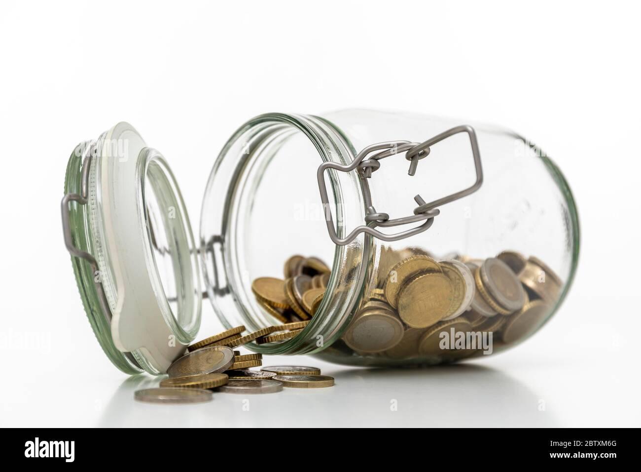 Épargne, verre avec argent, pièces, Allemagne Banque D'Images