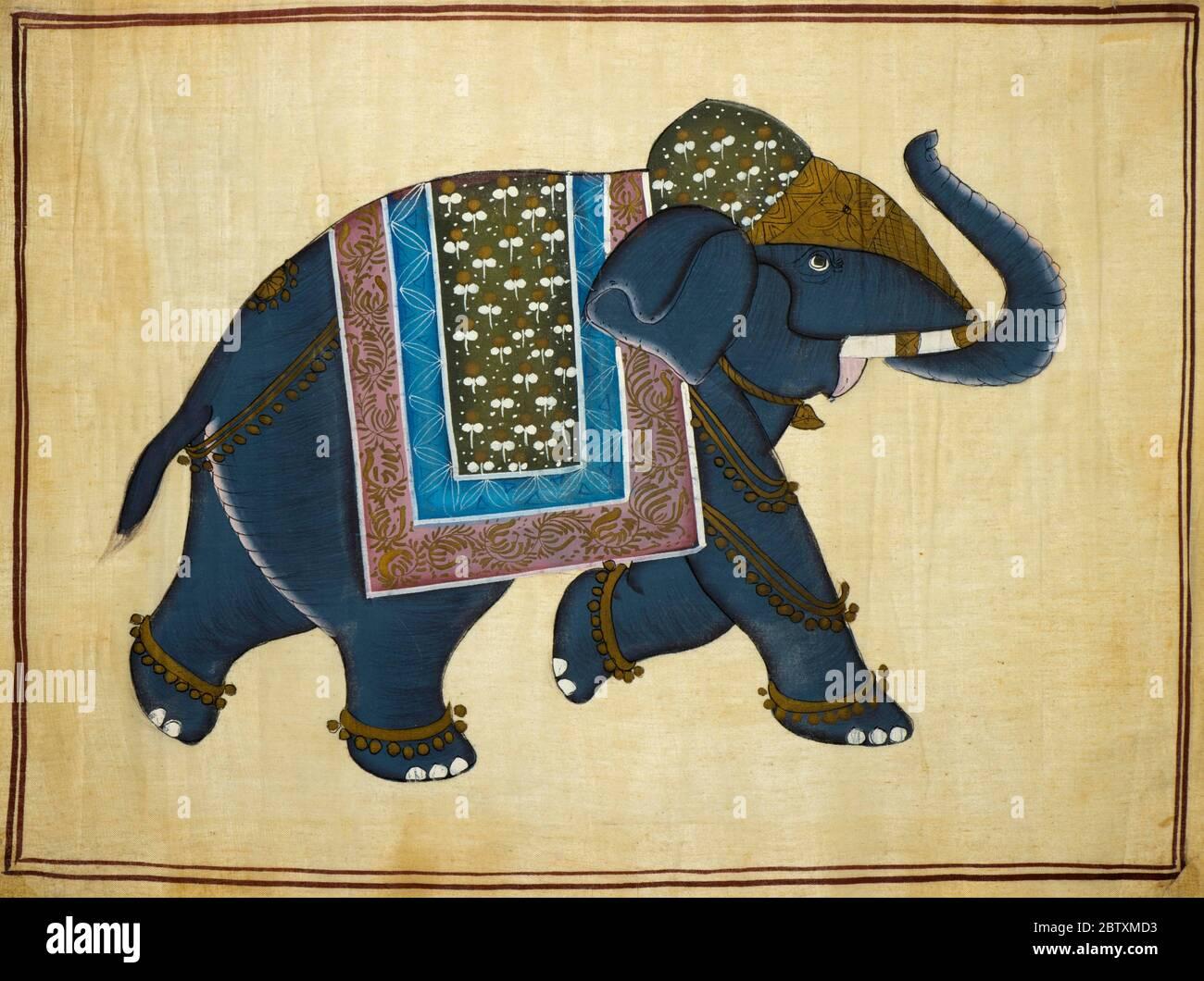 Éléphant peint à la main sur tissu de coton, peinture traditionnelle farcie, cachemire, Inde Banque D'Images