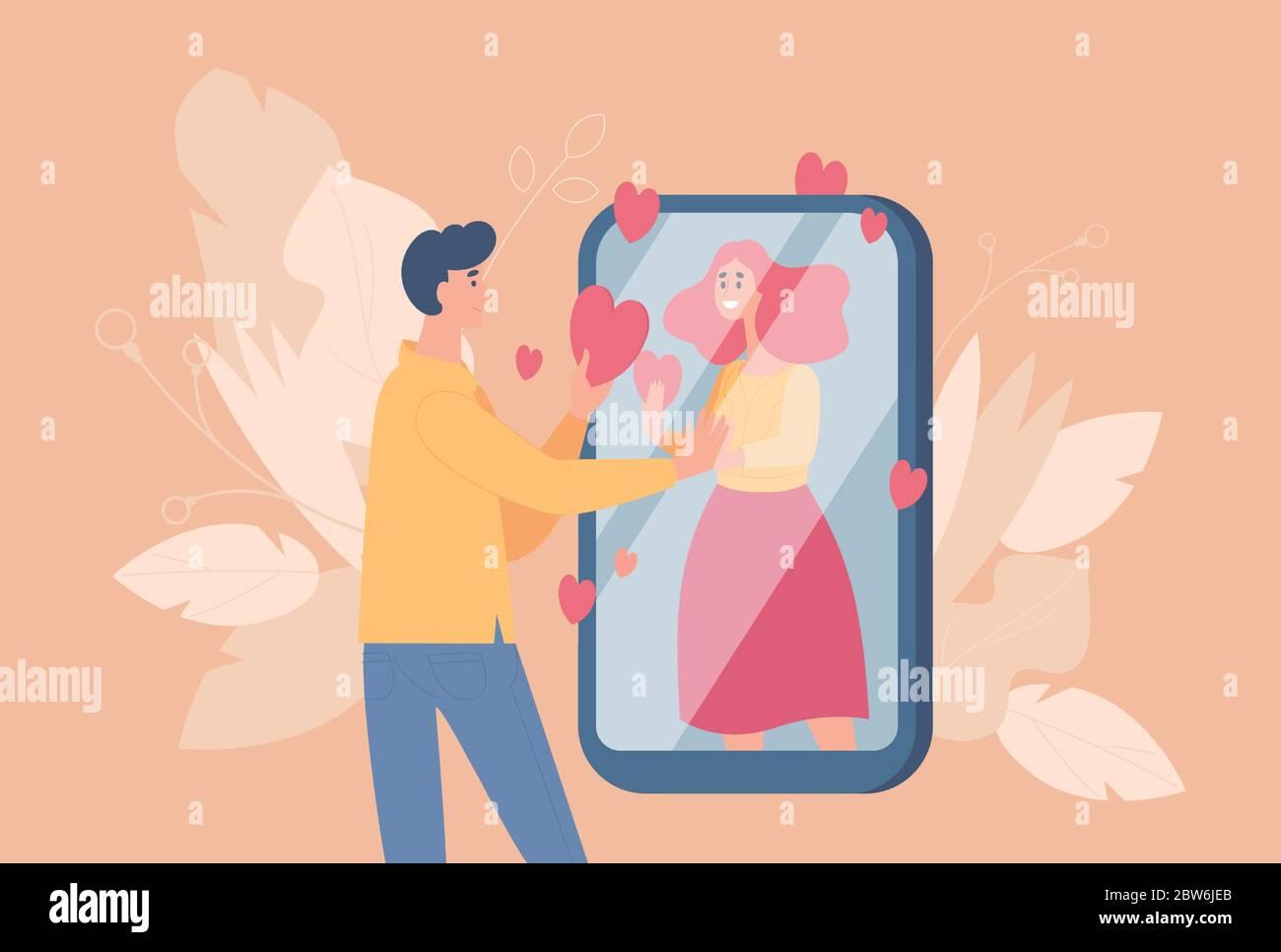 Illustration De Dessin Animé Plate De Datant En Ligne Et De Vecteur De Relation Distante Jeune