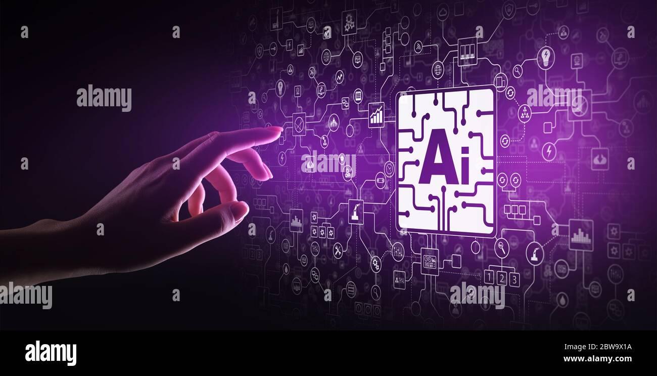 IA intelligence artificielle, apprentissage de machines, analyse de Big data et technologie d'automatisation dans le concept de fabrication d'entreprise et industrielle sur virtuel Banque D'Images