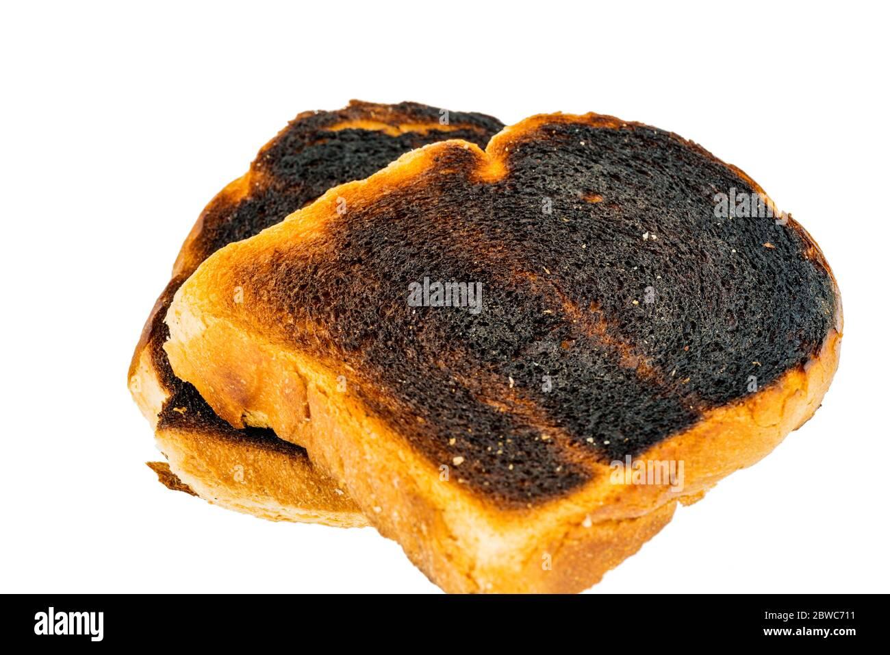 Le toastret est un beim toasten verbannt. Verbannte Toastscheiben beim Fruehstueck. Banque D'Images