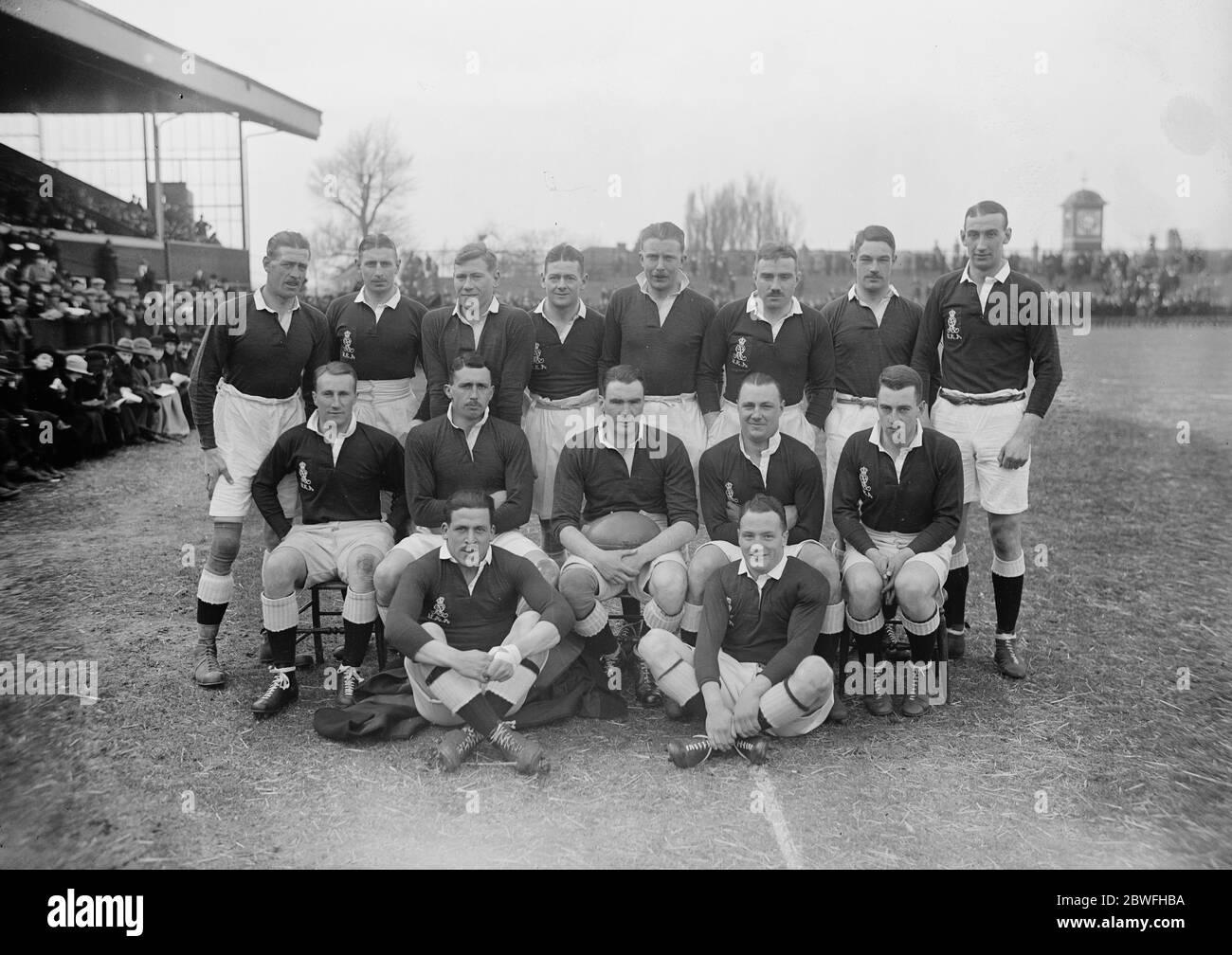 Rugby à Twickenham , Londres Army versus Navy l'équipe de l'Armée le 1er mars 1924 Banque D'Images