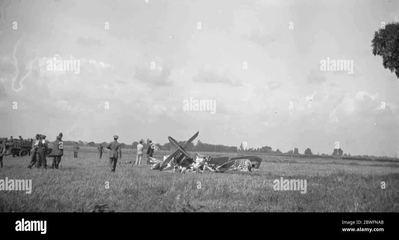 Accident d'avion Lt de R S Rosling , Little Waltham , Chelmsford septembre 1925 Banque D'Images