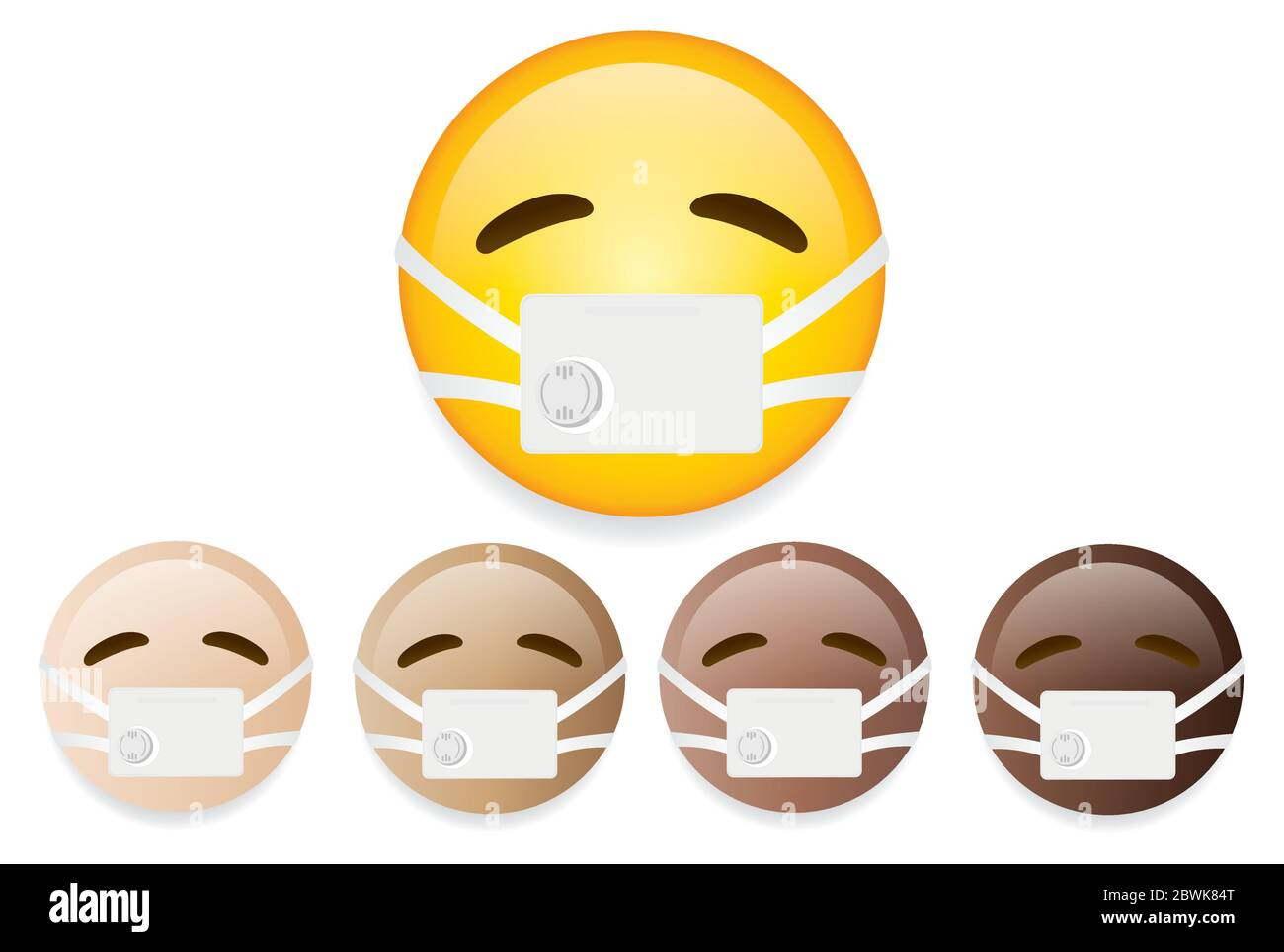 Emoticones De Haute Qualite Sur Fond Blanc Emoticone Avec Masque Medical Mask Illustration Du Vecteur Emoji Emoticones Differentes Tonalites De Peau Emoticones De Couleur Image Vectorielle Stock Alamy