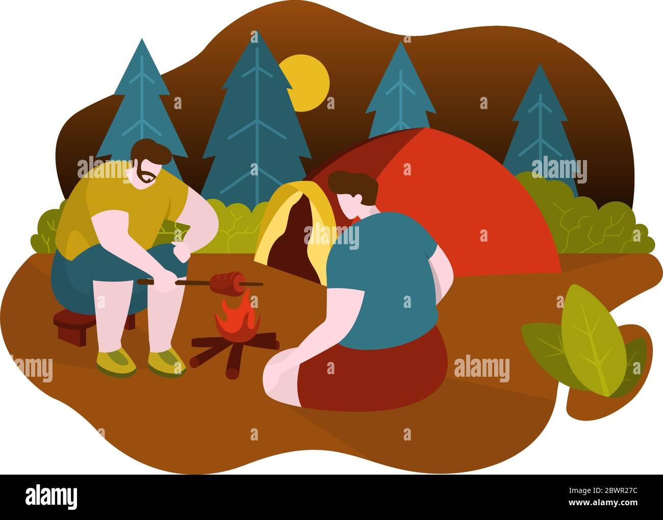 Hommes Camping Griller De La Viande Avec Feu De Camp Pres De La Tente Dessin Plat Illustration Image Vectorielle Stock Alamy