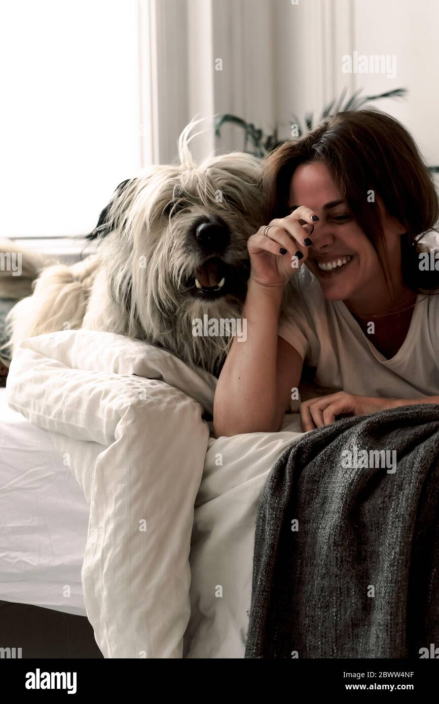 Riant femme mûre couché sur le lit jouant avec son chien Banque D'Images