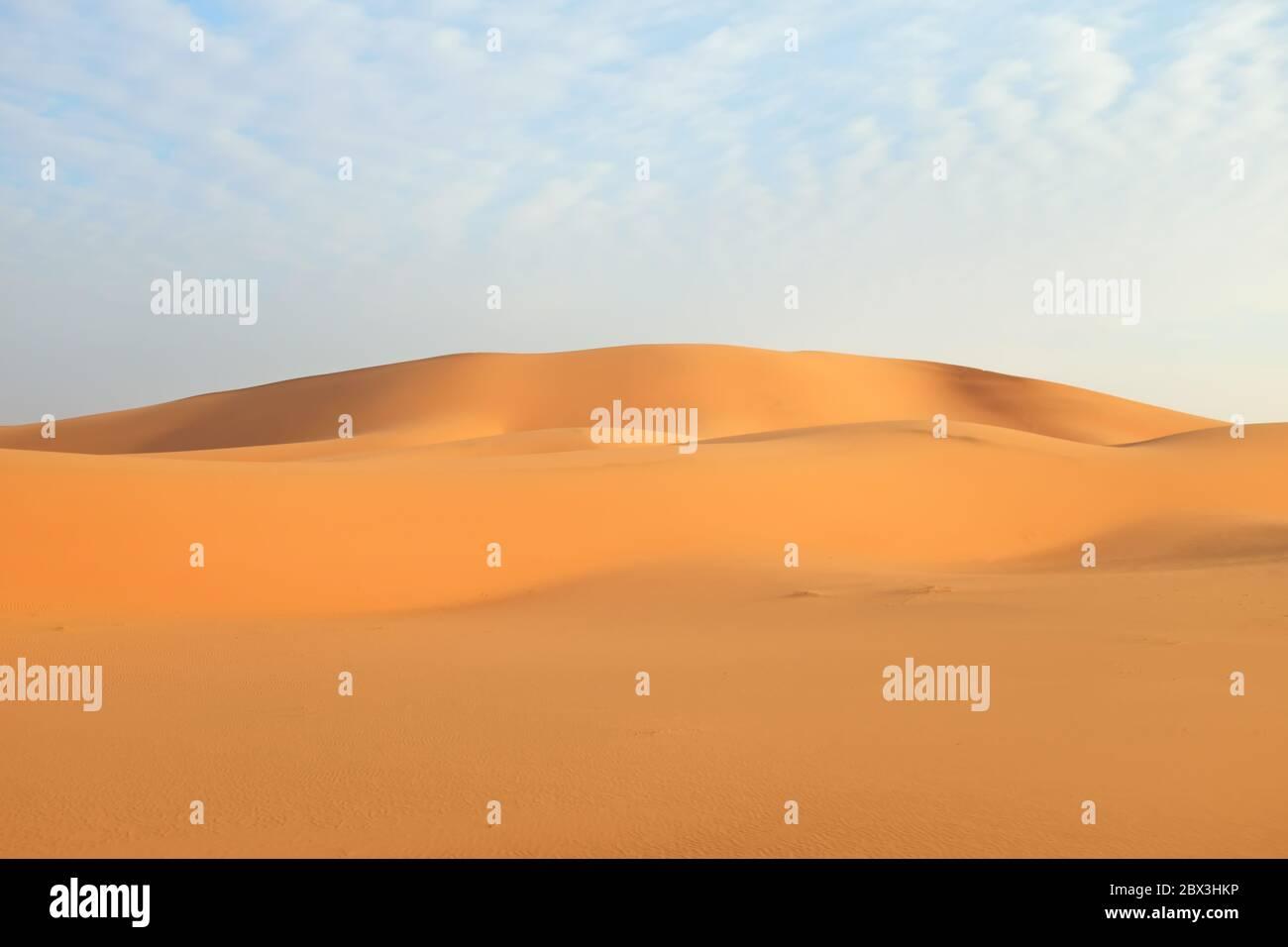 Dunes de sable orange vif dans le désert d'Al Dahna, Riyad, Arabie Saoudite. Banque D'Images