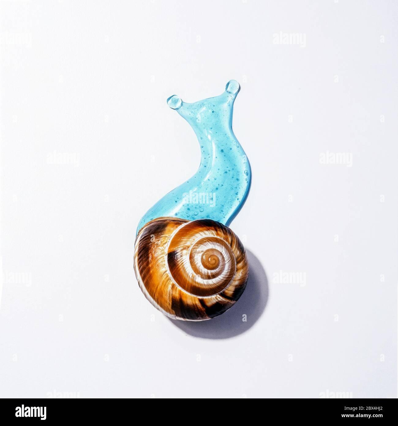Image créative des cosmétiques avec le concept d'escargot soins du visage et du corps avec la lime à ongles Banque D'Images