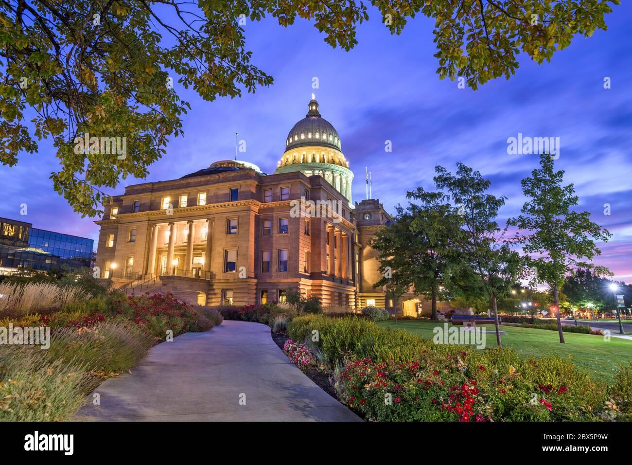 Idaho State Capitol Building à l'aube à Boise, Idaho, États-Unis. Banque D'Images