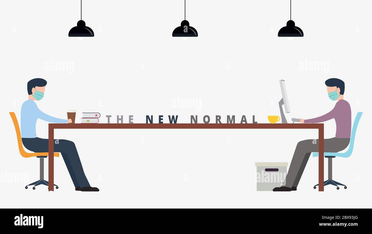 La nouvelle normale. Prise de distance sociale au bureau parmi l'homme d'affaires ouvrier. Les employés doivent se tenir à distance pendant leur travail ou leur réunion sur le coronavirus Covid-19 Banque D'Images