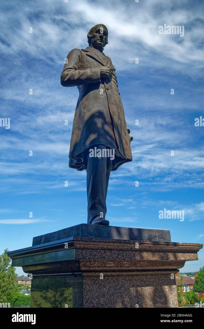Royaume-Uni, Yorkshire du Sud, Barnsley, Locke Park, statue de Joseph Locke Banque D'Images