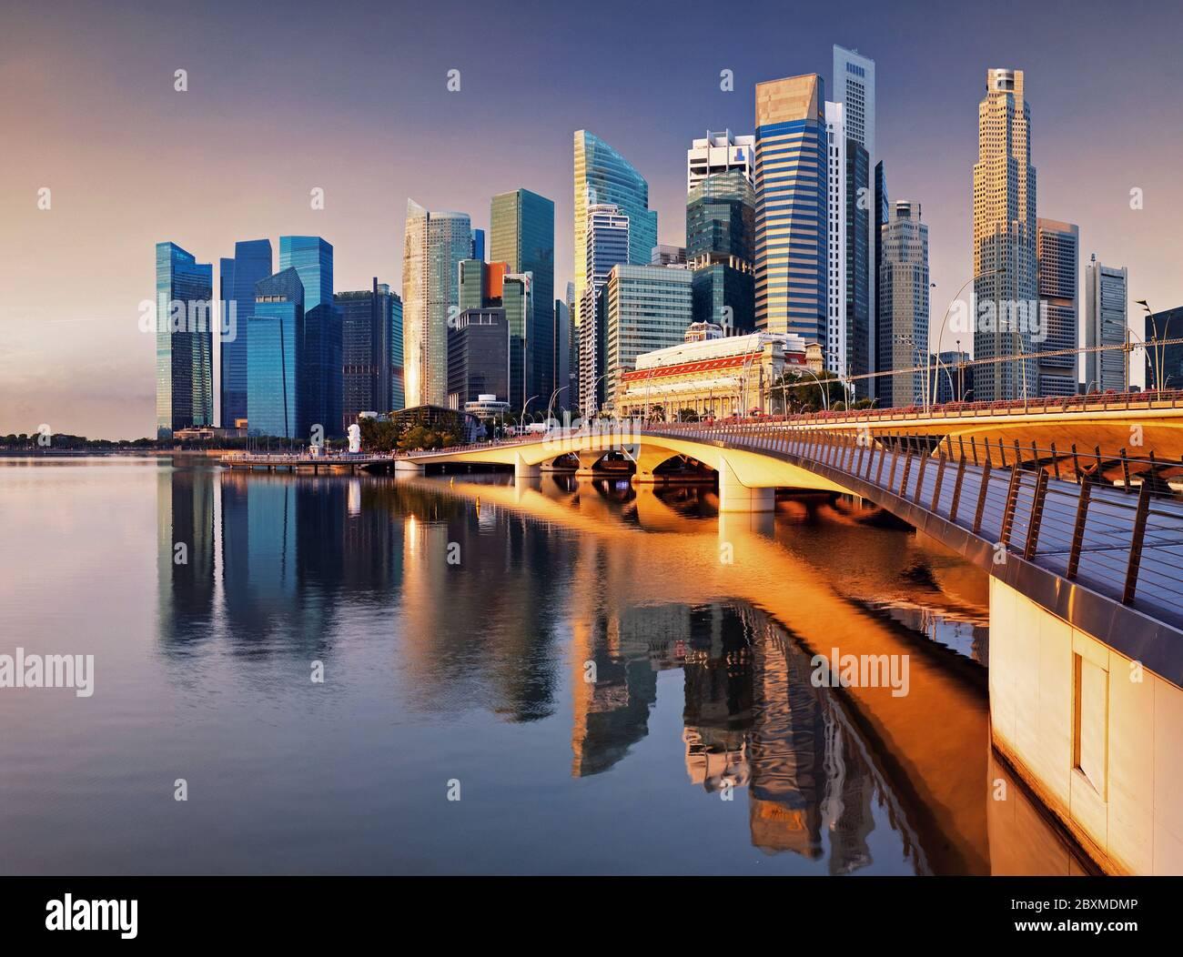 Horizon de Singapour - centre ville Banque D'Images
