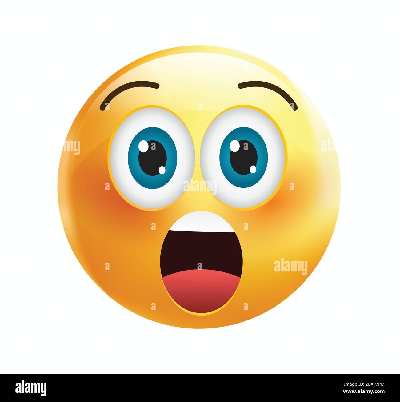 Emoticone De Haute Qualite Isolee Sur Fond Blanc Emoji Visage A La Bouche Ouverte Et Les Yeux Ouverts Yellow Visage Wow Emoji Social Medias Surpris Choque Image Vectorielle Stock Alamy