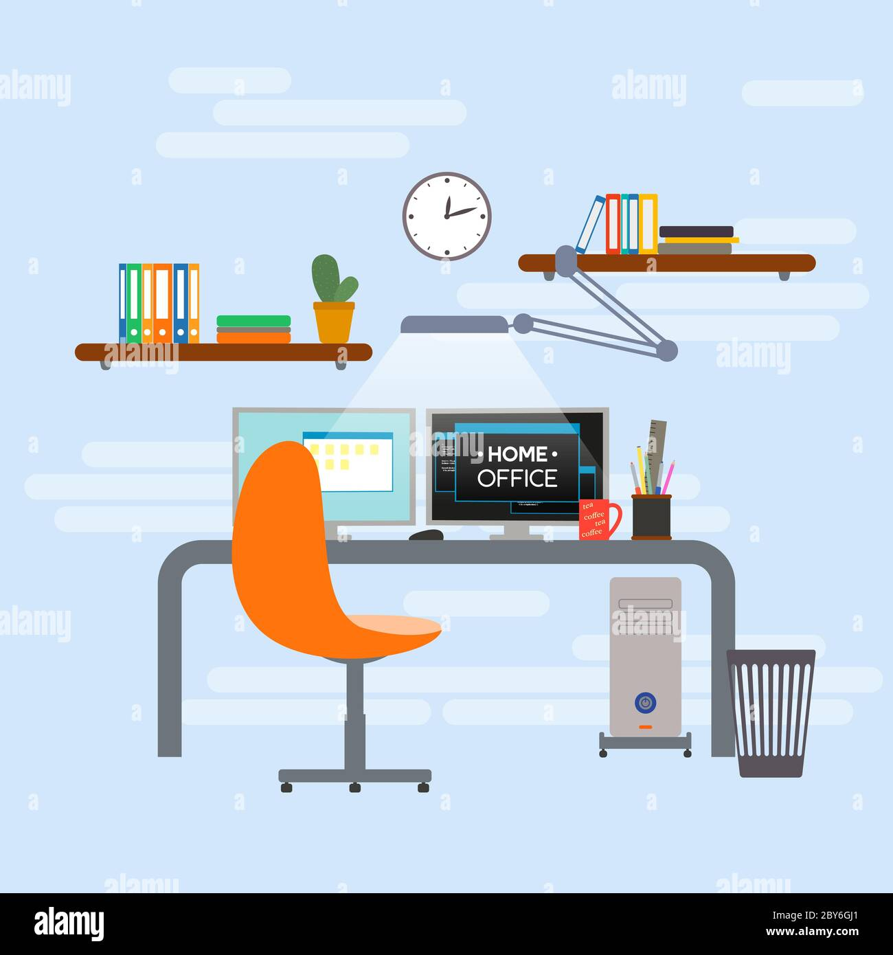Intérieur de bureau à domicile. Conception du lieu de travail. Illustration de Vecteur