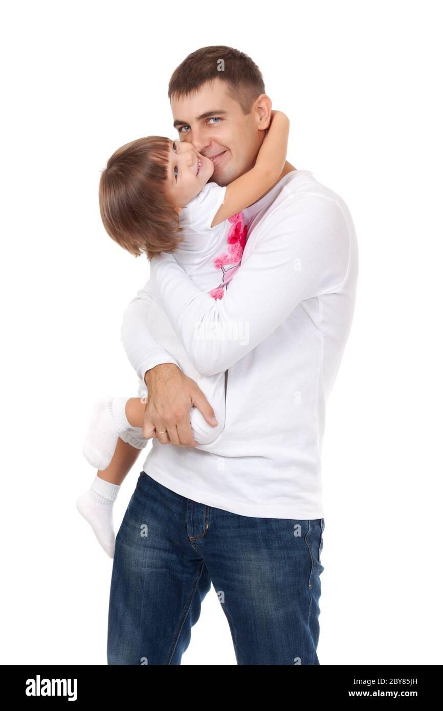 Portrait de l'amour jeune père serrant son enfant Banque D'Images