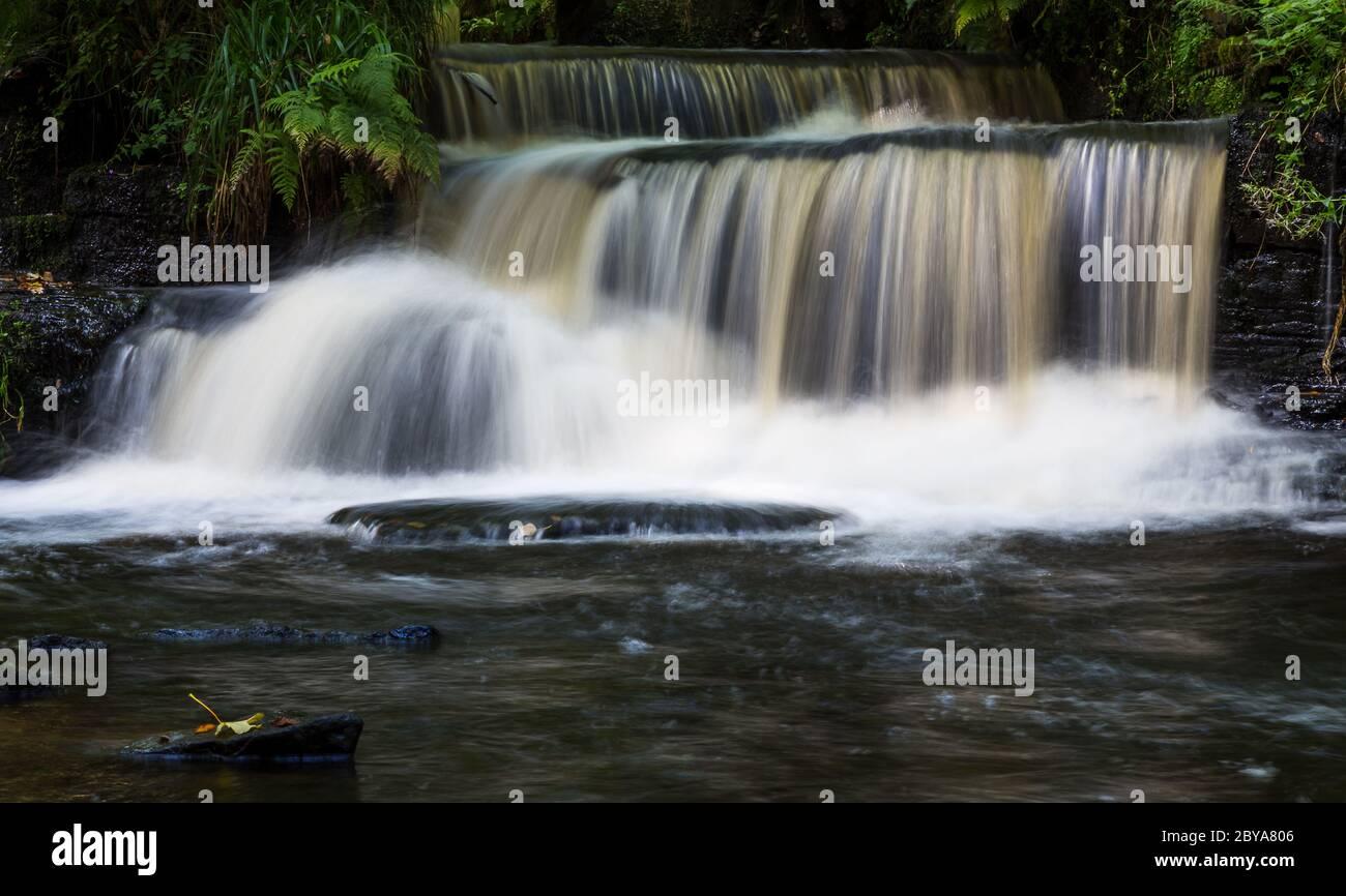 Série de cascades sur la rivière Rivelin près de Sheffield, Banque D'Images