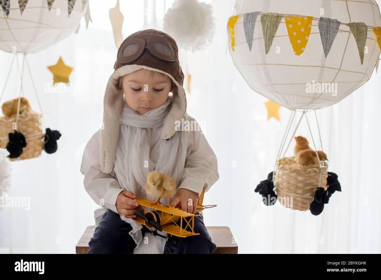 Mignon petit enfant, garçon, jouant avec des poussins à la maison, prétendant qu'il vole dans le ciel, pilote avec avion et poussin d'animal de compagnie Banque D'Images