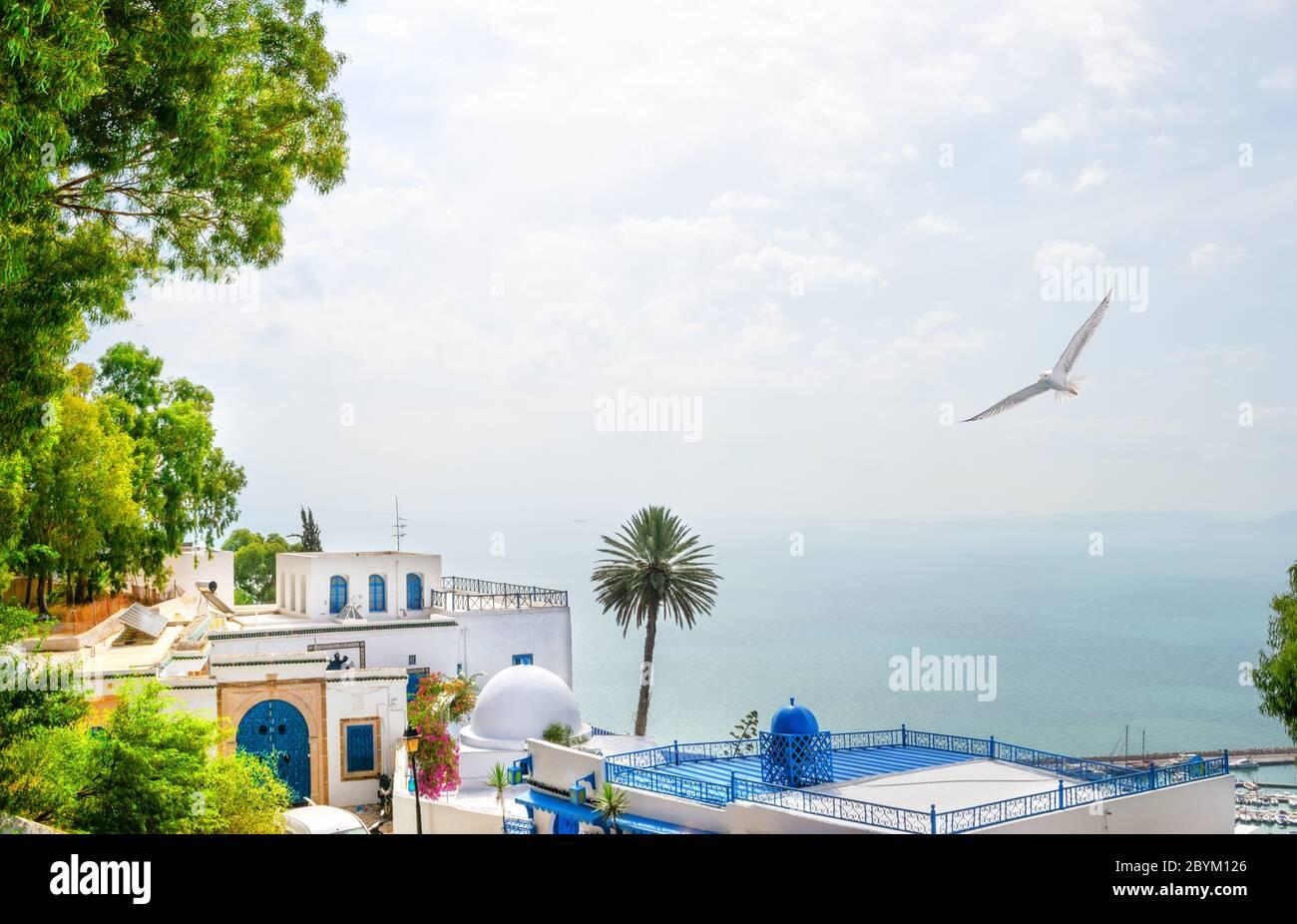 Bâtiment blanc et bleu et mer sur l'île de Mykonos Banque D'Images