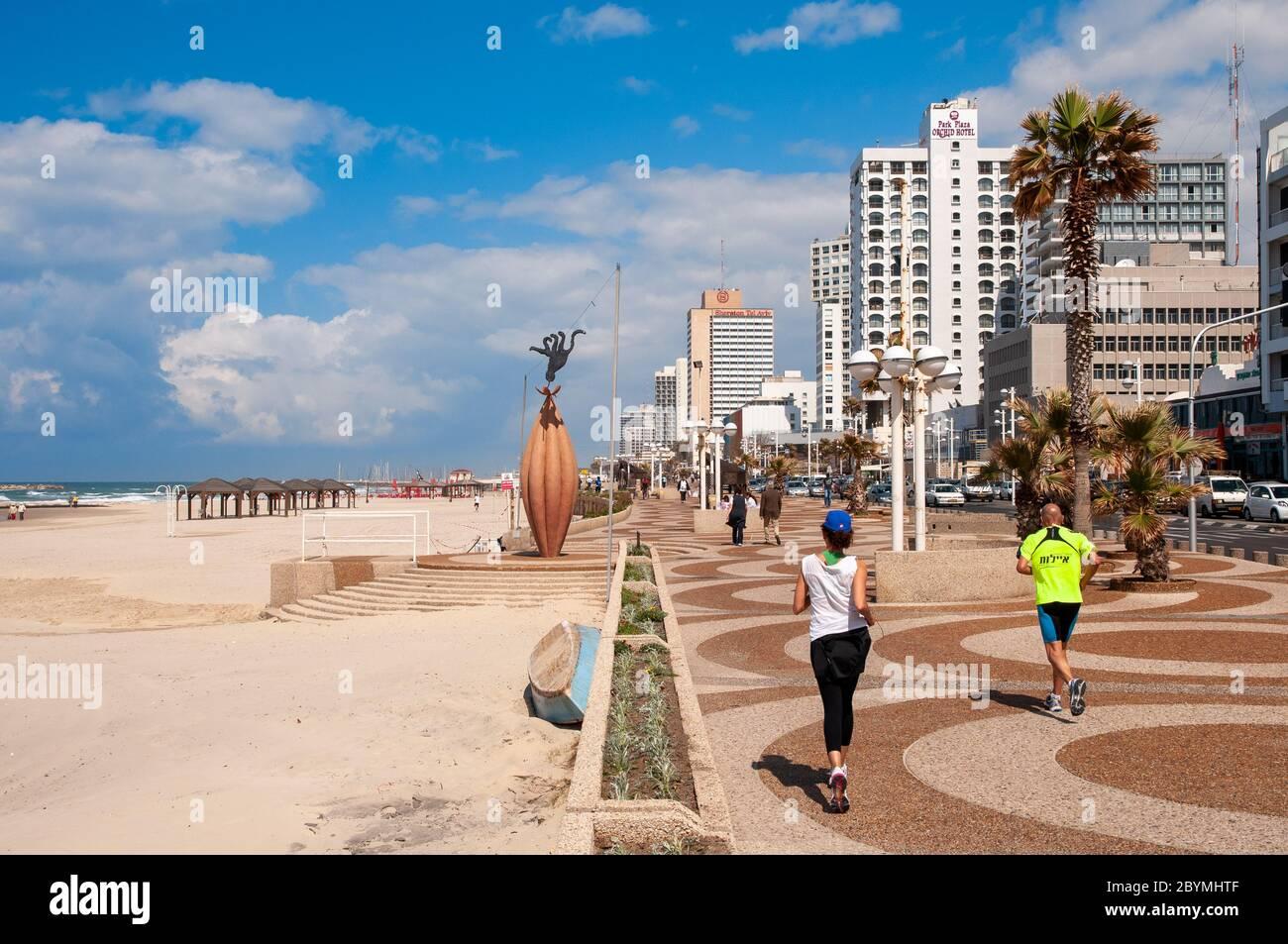 La promenade de bord de mer, Tel Aviv, Israël Banque D'Images