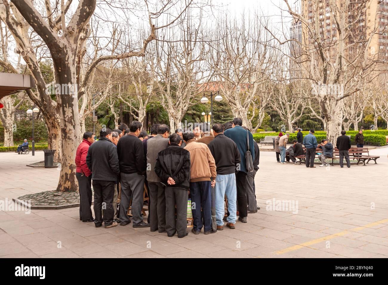 L'entassement des hommes autour d'un jeu de cartes dans le parc Fuxing, Shanghai, Chine Banque D'Images