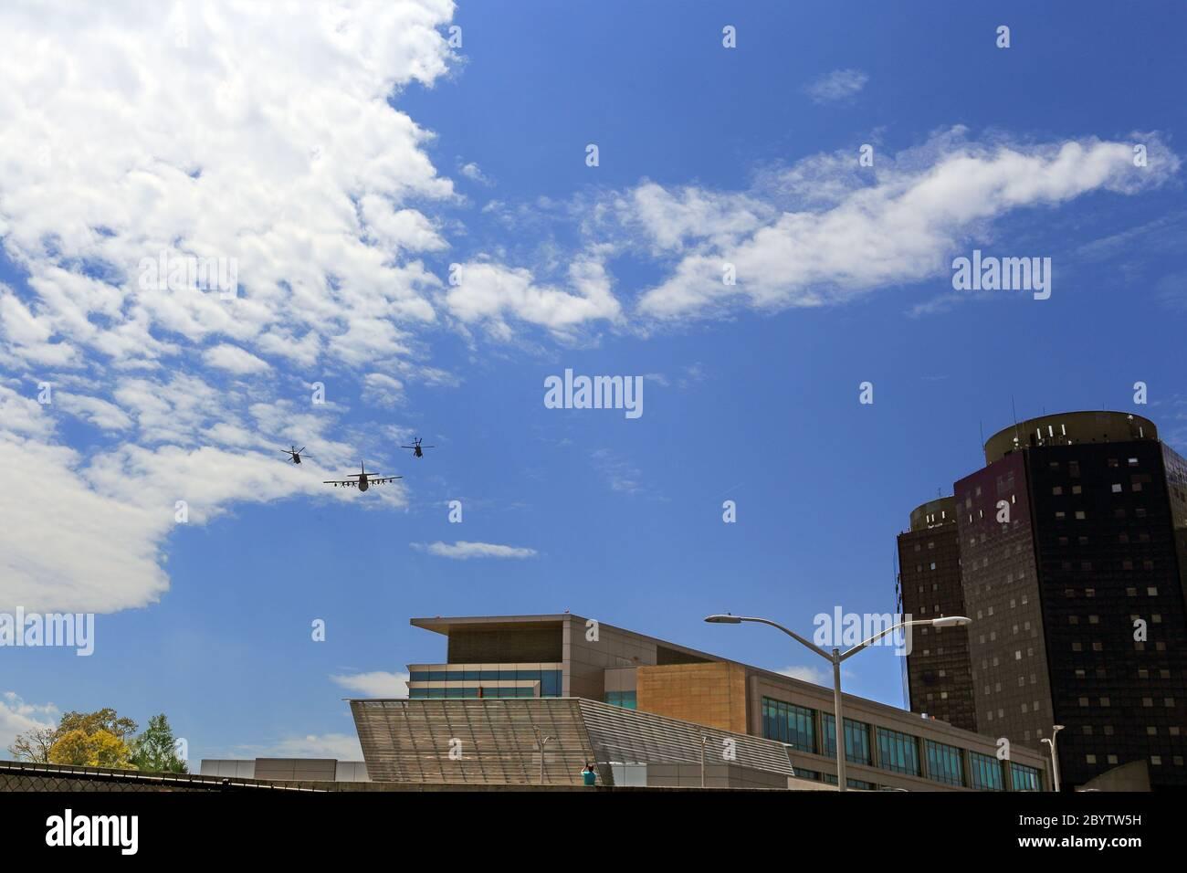 Survol militaire de l'hôpital Stony Brook long Island New York Banque D'Images
