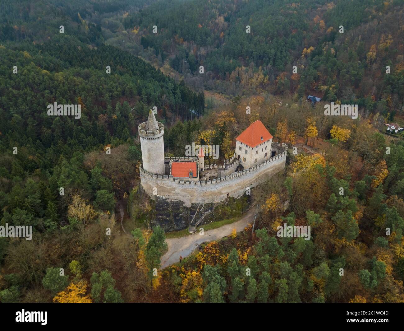 Château Kokorin en République tchèque - vue aérienne Banque D'Images