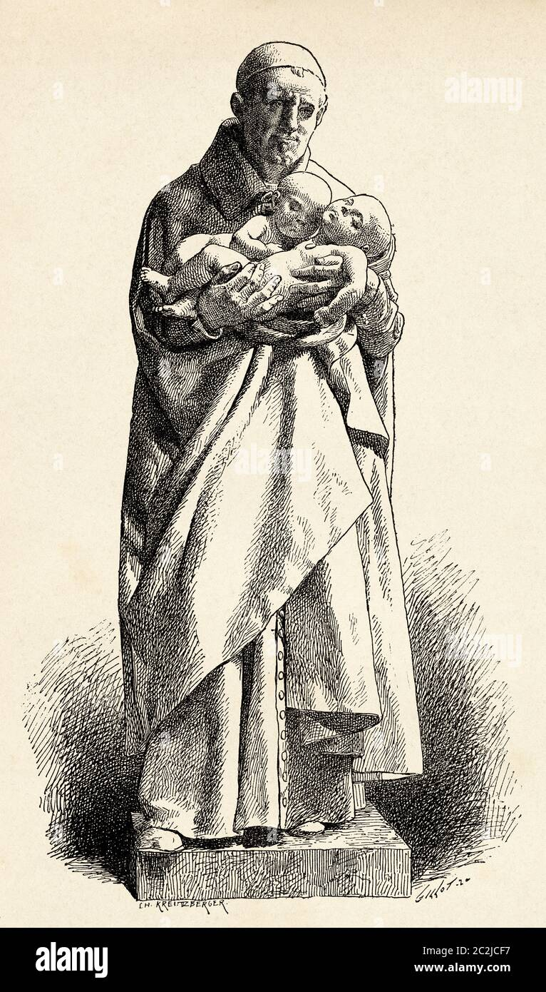 Statue en marbre de Saint Vincent de Paul du sculpteur français Jean-Alexandre-Joseph Falguiere (1831 - 1900). Illustration gravée du XIXe siècle, El Mundo Ilustrado 1880 Banque D'Images