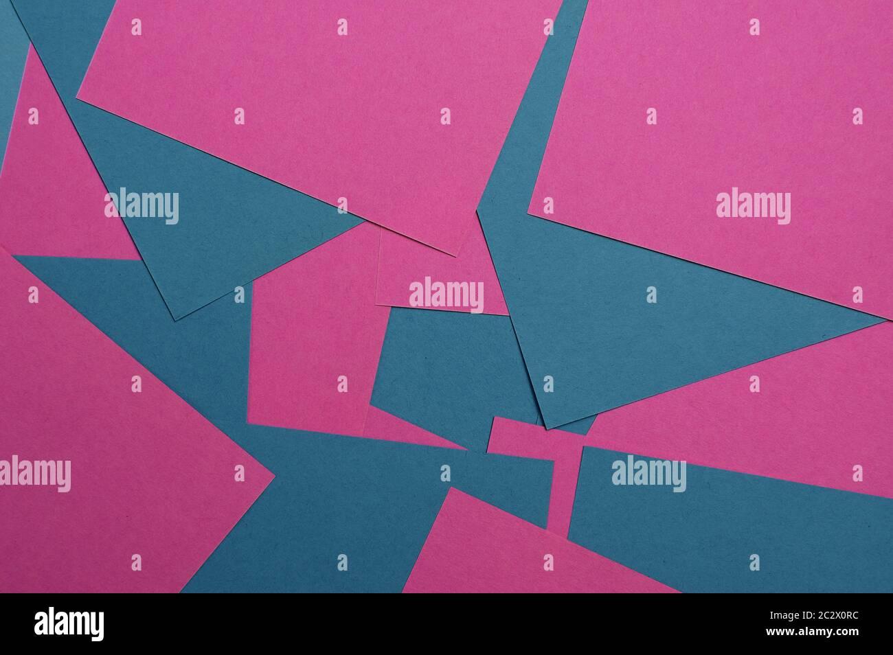 Arrière-plan deux couleurs, rose et bleu. Abstraction géométrique du papier coloré. Banque D'Images