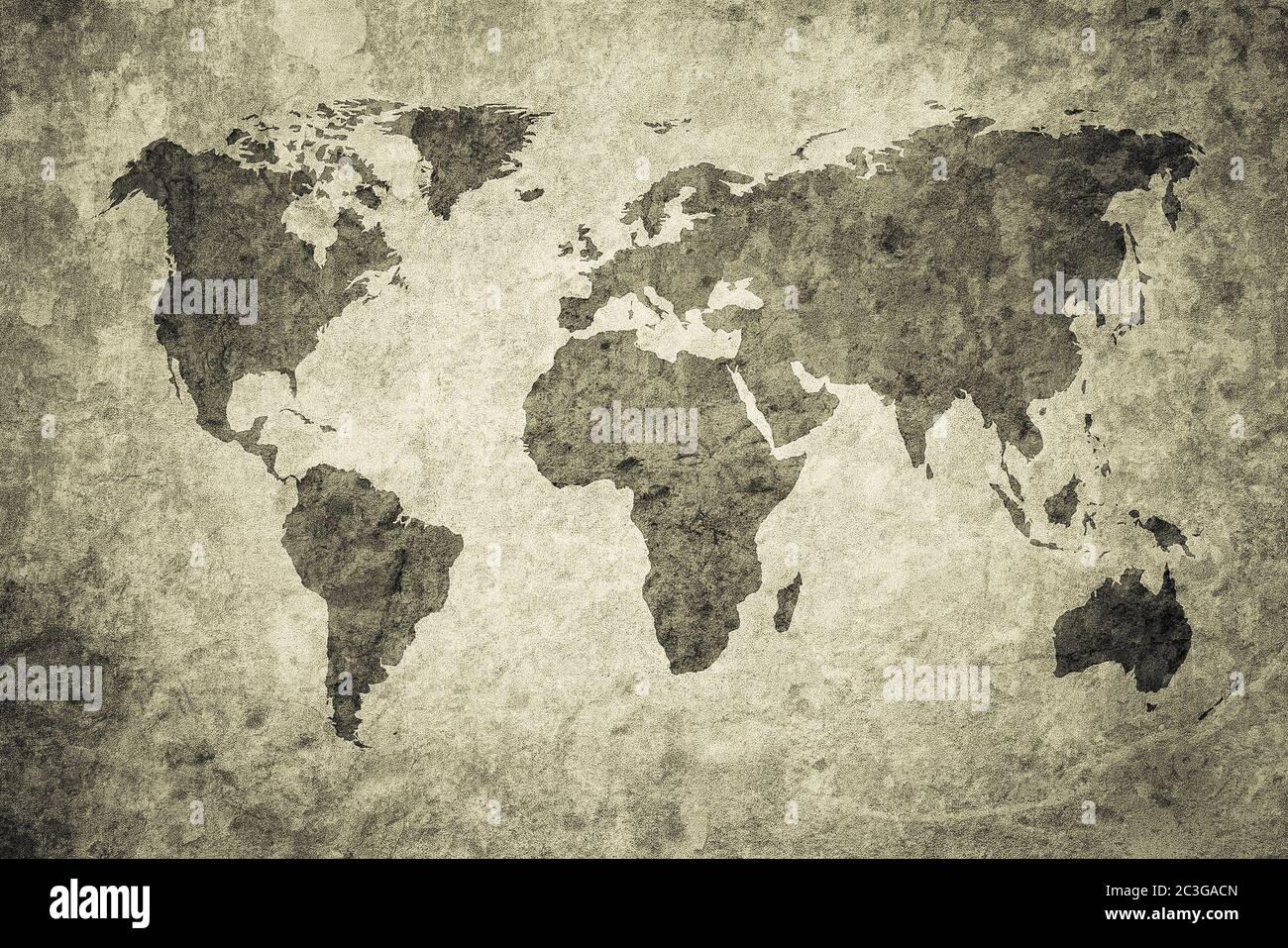 Grunge carte du monde Banque D'Images