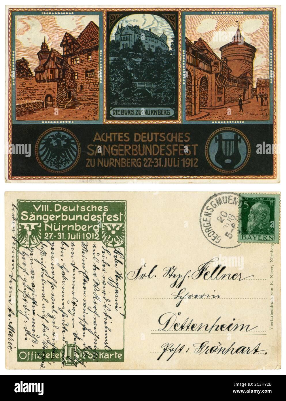 Carte postale historique allemande : festival de chant. Sängerbundesfest à Nuremberg, 27-31 juillet 1912. Un ancien château bavarois avec des tours. Bavière, Empire allemand Banque D'Images