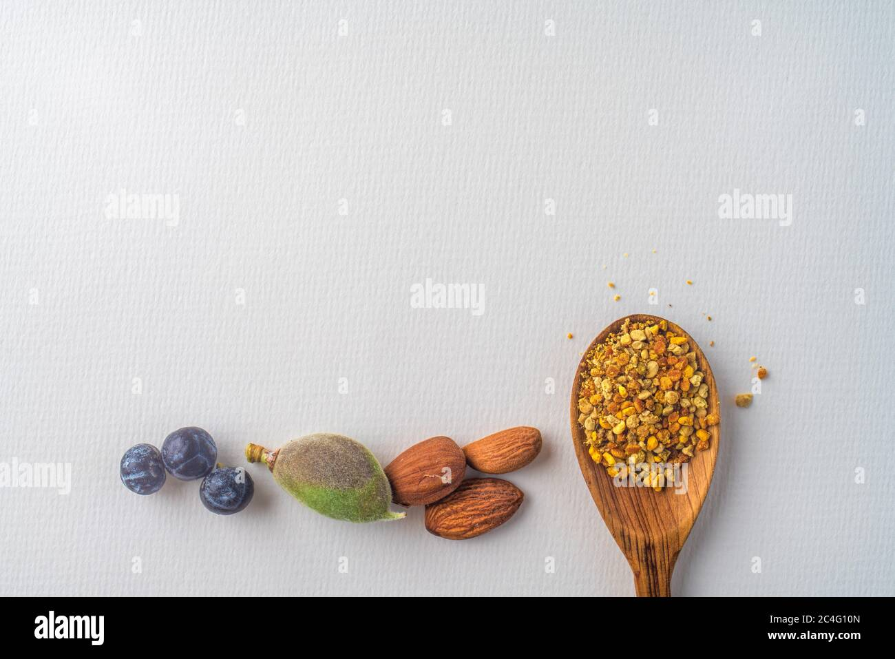 Trois baies anciennes de genévrier bleu, amandes noix et pollen d'abeille dans une cuillère en bois au printemps, isolées sur papier blanc texturé. Copier l'espace. Régime équilibré Banque D'Images