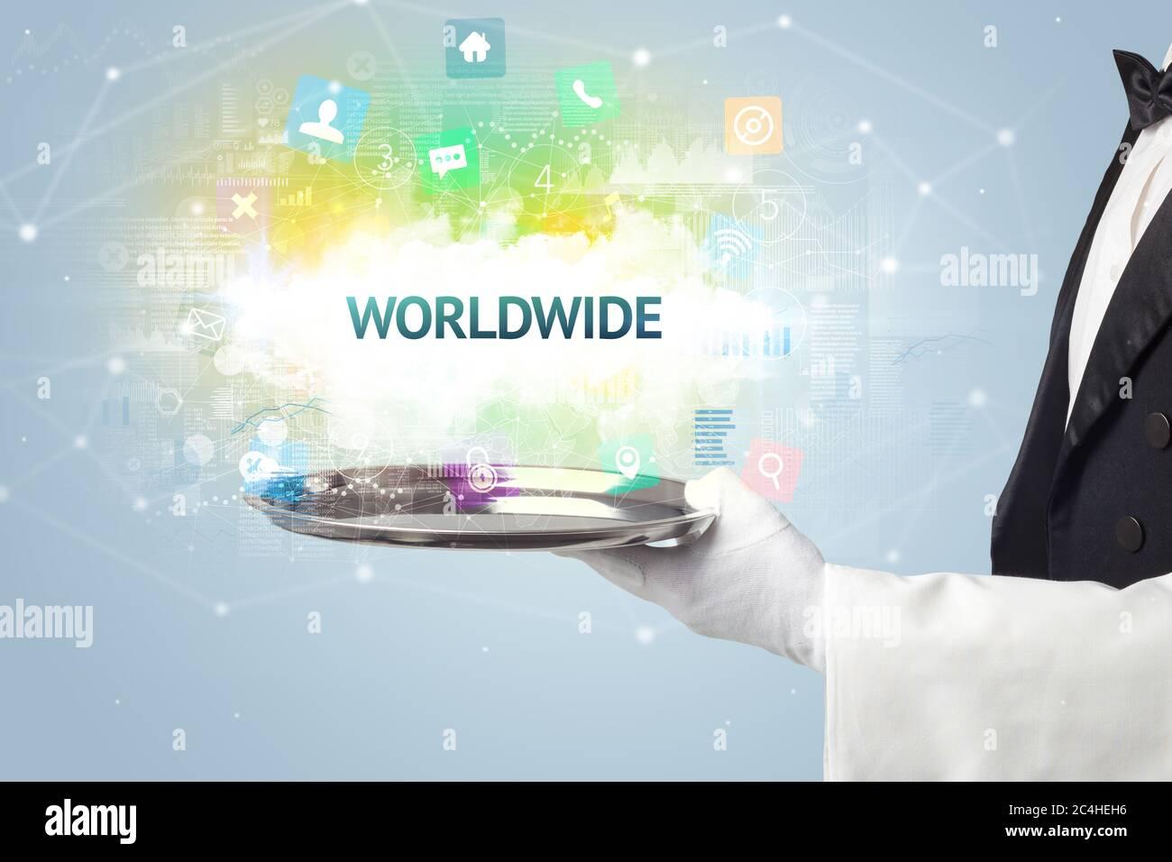 Serveur servant le concept de réseau social avec inscription DANS LE MONDE ENTIER Banque D'Images
