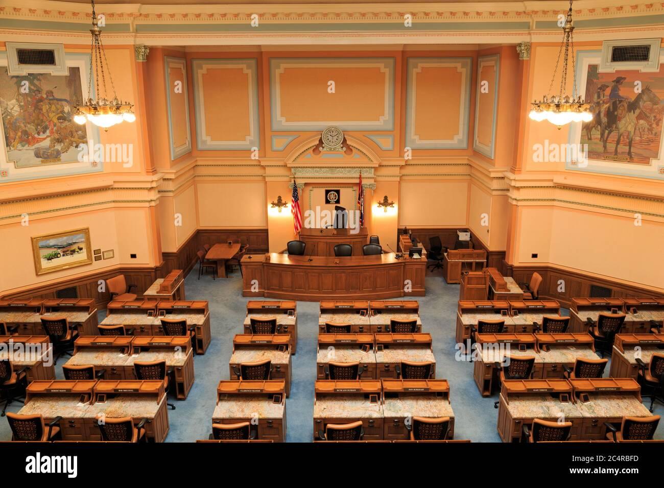 Chambre des représentants au Capitole de l'État, Cheyenne, Wyoming, USA Banque D'Images