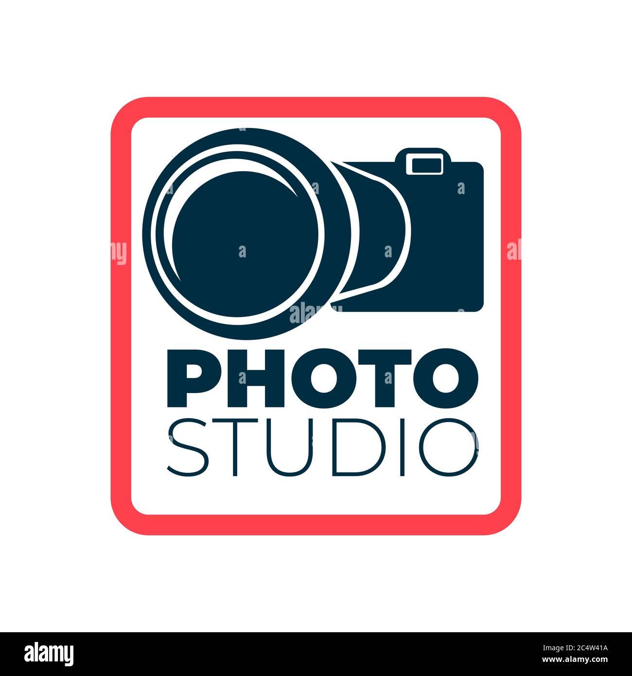 Logo photo studio avec icône appareil photo et cadre Illustration de Vecteur