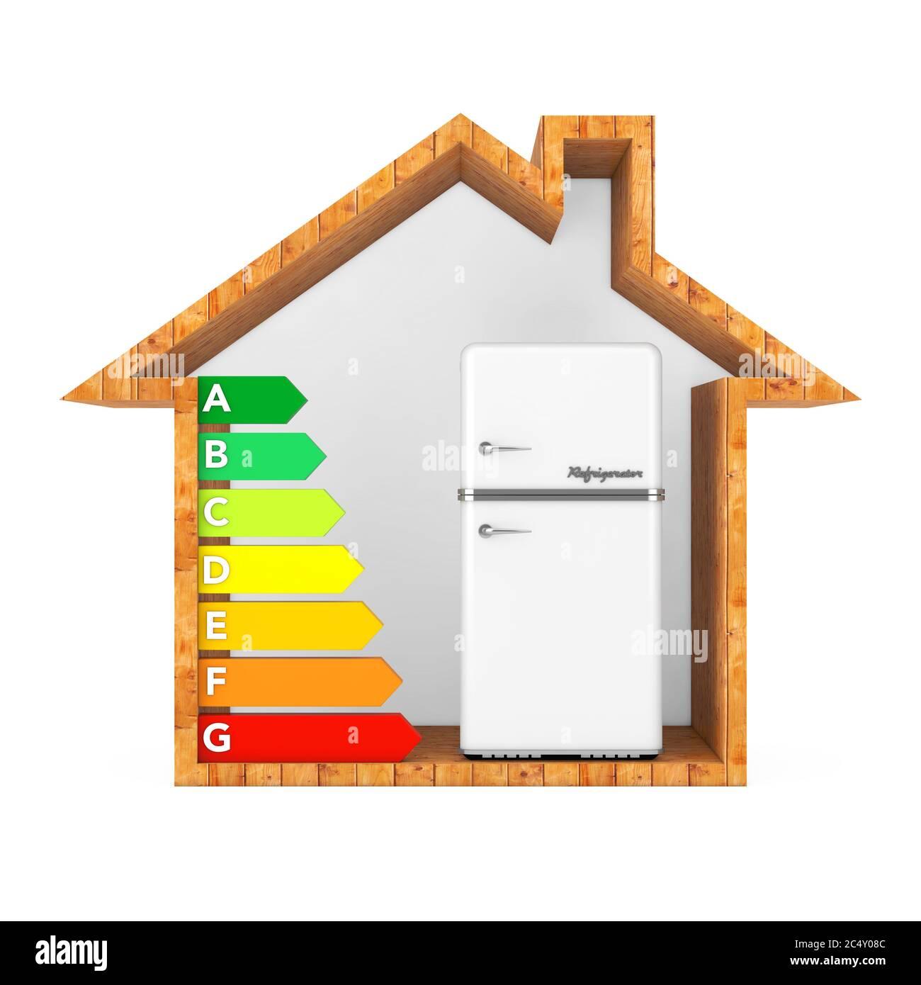 Réfrigérateur blanc avec tableau d'évaluation de l'efficacité énergétique dans une maison écologique en bois abstrait sur un fond blanc. Rendu 3d Banque D'Images