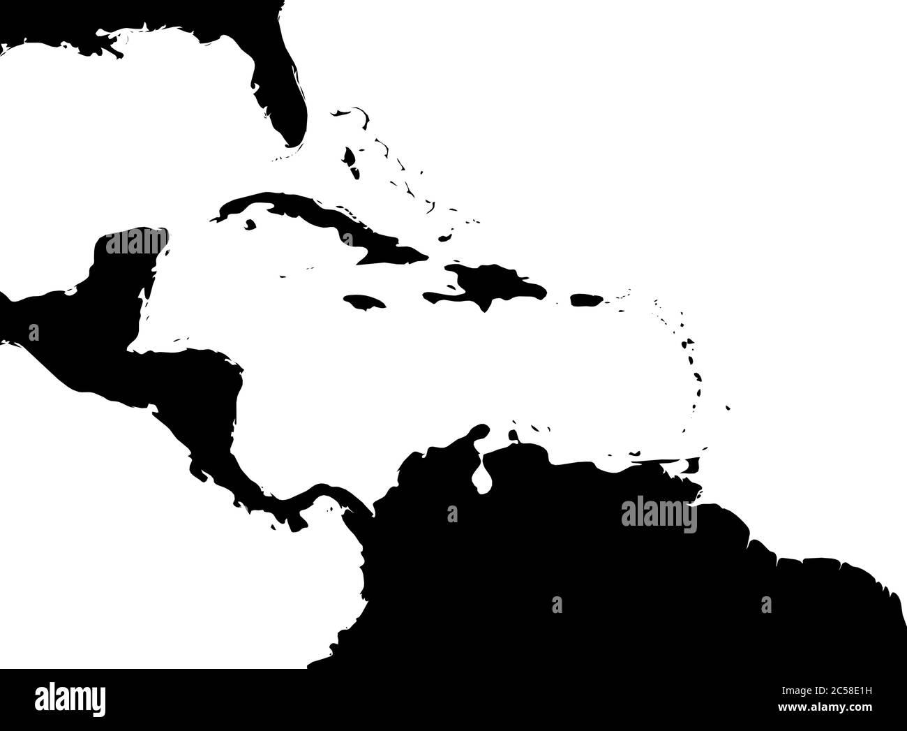 Carte de la région des Caraïbes et de l'Amérique centrale. Silhouette de terre noire et eau blanche. Illustration simple à vecteur plat. Illustration de Vecteur