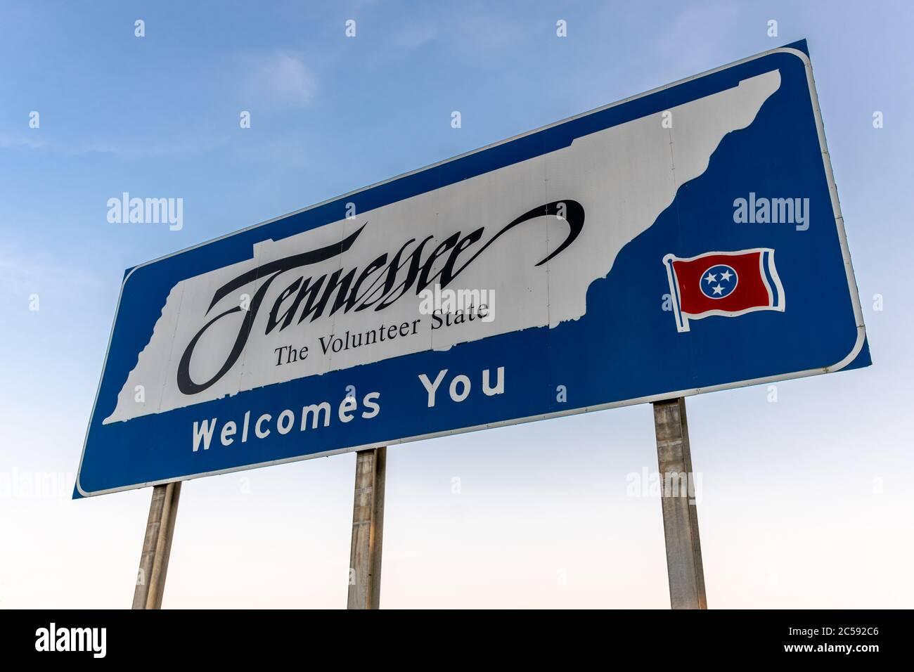 Bienvenue au panneau Tennessee sur l'autoroute Banque D'Images