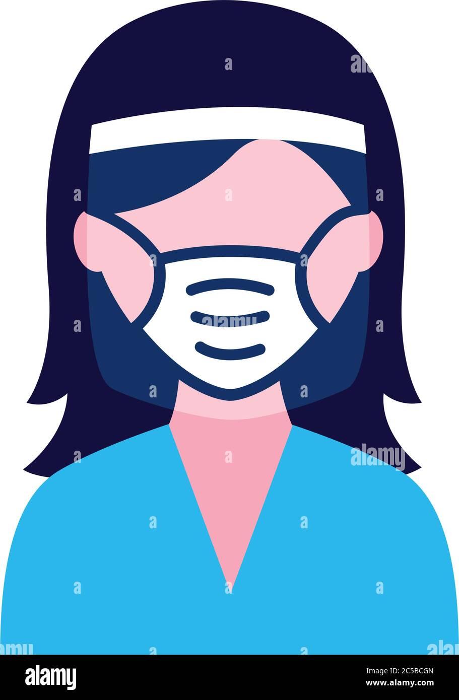 femme portant un masque médical et un masque facial plat icône vecteur illustration design Illustration de Vecteur