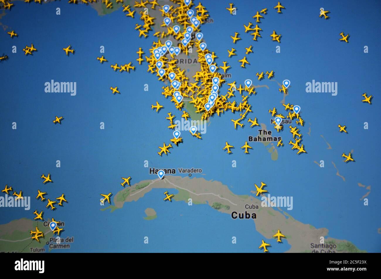 Trafic aérien sur la région des Caraïbes sur Internet, avec le site Flightracar 24 de Svenska Resenätverket AB ( 02 juillet 2020, UTC 19.12 ) Banque D'Images