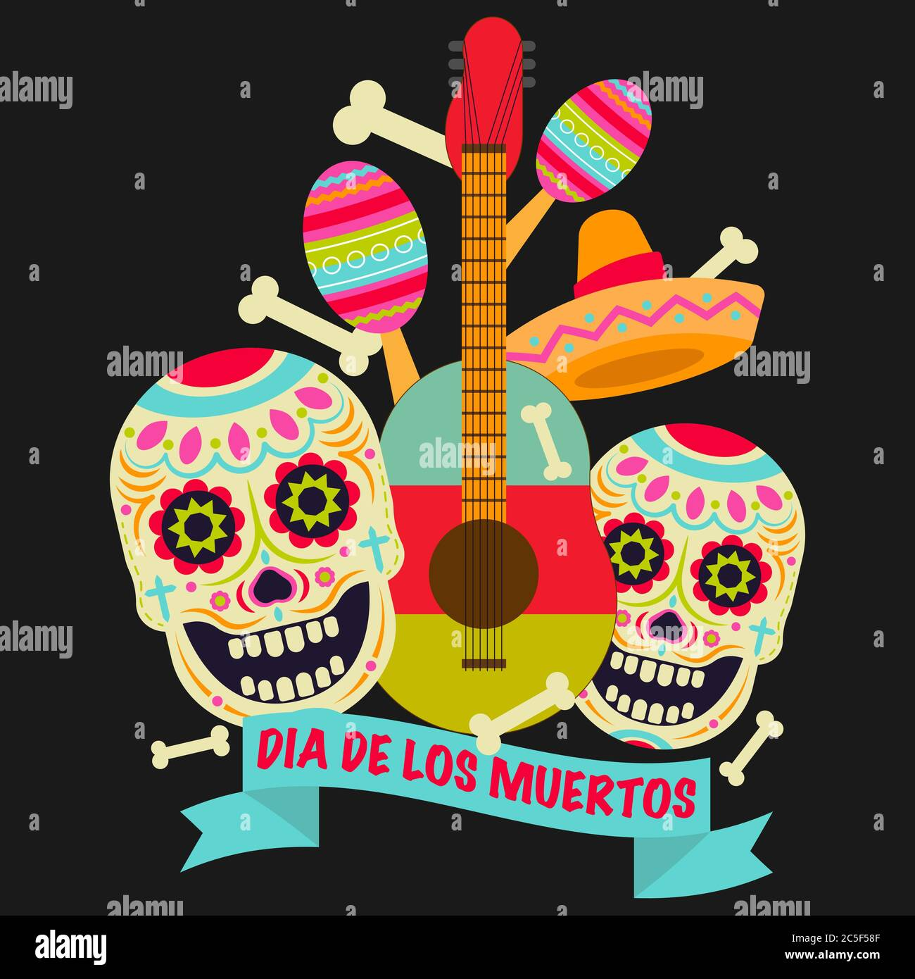 Icône vecteur crâne de sucre (Calavera). Jour des morts (Dia de los moertos) Fiesta et affiche de vacances. Décoration mexicaine colorée fête circulaire de bienvenue Illustration de Vecteur