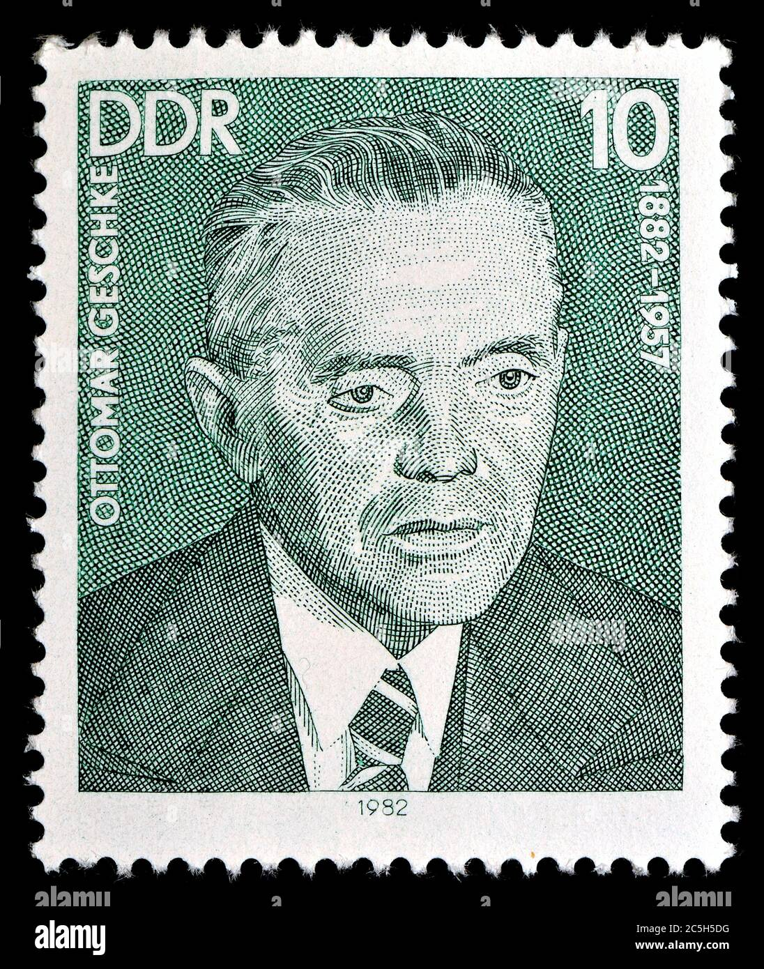 Timbre-poste est-allemand (1982) : Ottomar Georg Alexander Geschke (1882-1957) politicien allemand (KPD, SED). Banque D'Images