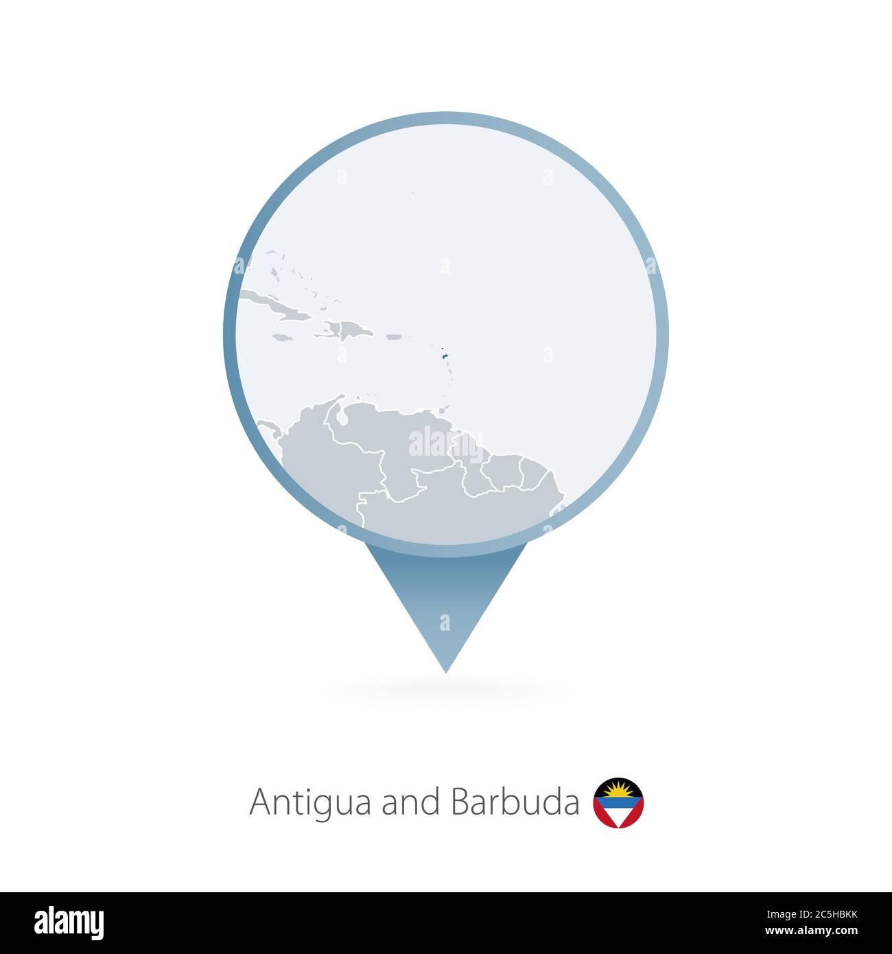 Carte PIN avec carte détaillée d'Antigua-et-Barbuda et des pays voisins. Illustration de Vecteur