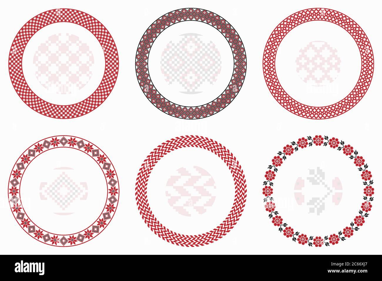 Ensemble de motifs ronds géométriques slaves. Bordures, cadres. Illustration vectorielle des éléments décoratifs ronds de broderie slave avec des formes sans couture Illustration de Vecteur